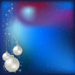 Christmas greeting with nacreous balls