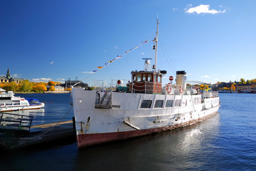 river tourist ship in the harbour of Stockholm