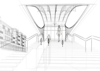 pensilina metropolitana rendering 3d