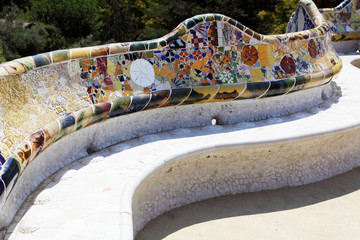 Antonio Gaudi - a bench in park Guell