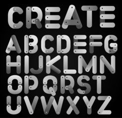 Stock Vector Illustration: interlocking alphabet letters