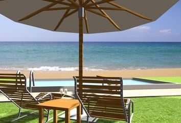 3d liegestühle am strand