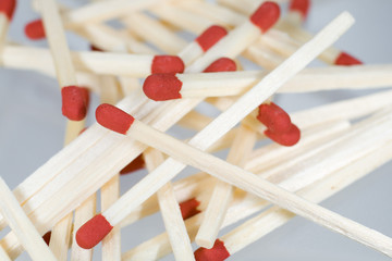 Group of matches randomly placed on each other