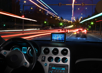 Gps satellite navigator in car