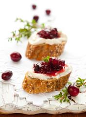 toast with cranberry jam
