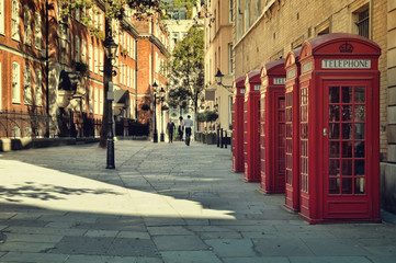 Fotobehang Londen Street with traditional red Phone Boxes, London.