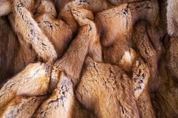 Vintage red mink fur texture. Background.