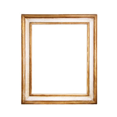 Antique, golden frame on white background.
