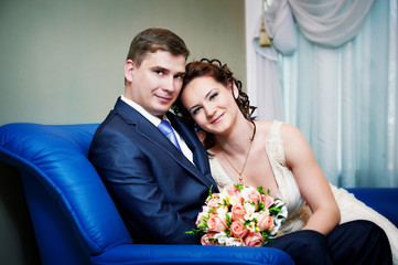 Happy bride and groom in wedding day