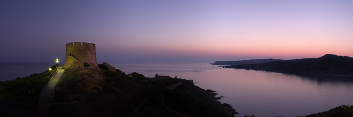 Printed kitchen splashbacks Eggplant Panoramic view at dawn of coastline whit old ruins