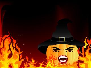 Fototapete - Pumpkin witch