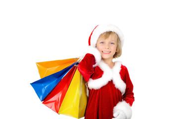 Cute little Santa with shopping bags