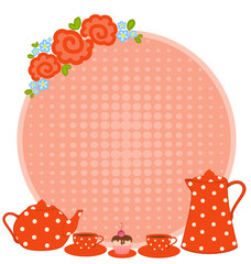 red beautiful cups and tea-pot