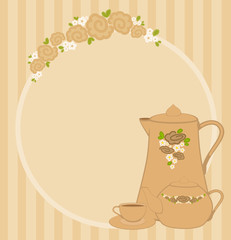 frame with flowers and beautiful cups and tea-pots