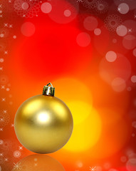 GOlden Christmas ball on blur shiny background
