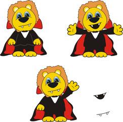 lion cartoon halloween bat set