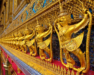 Golden Garuda decoration in The temple of Emerald Buddha (H)