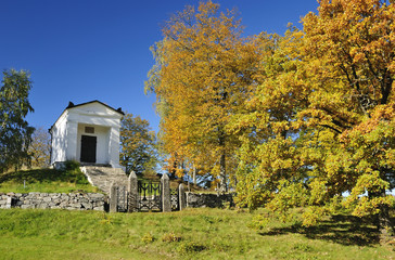Swedish temple in autumn colors