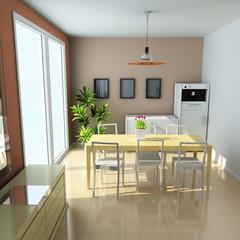 3d modern dining room
