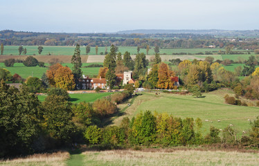 Fototapete - An English Rural Landscape in Autumn with footpath