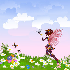 Recess Fitting Floral woman Celestial Fairy on a flower meadow