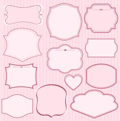 Canvas Prints Fairytale World Set of pink vector frames