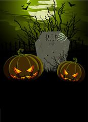 Halloween Tombstone and Pumpkins