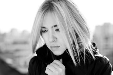 portrait of sad blonde  girl