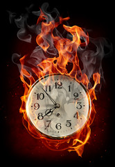Tuinposter Vlam Burning clock