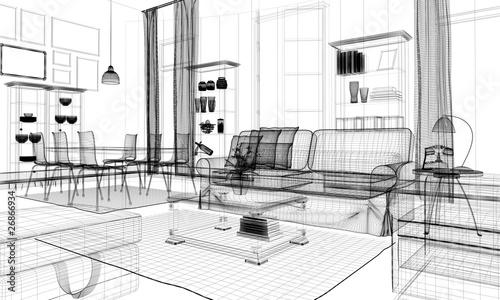 Interno casa rendering 3d wireframe arredamento immagini for Arredamento gratis