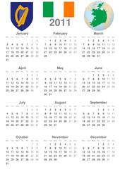 Ireland 2011 calendar emblem flag map