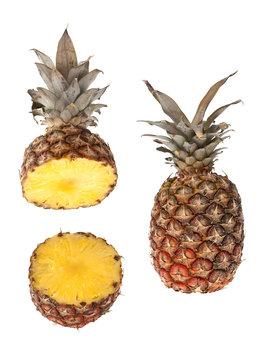 Whole and half pinapple