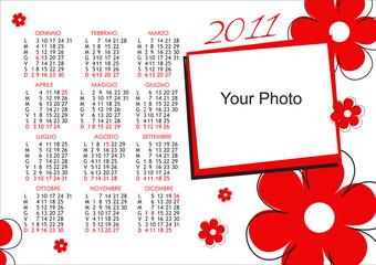 Calendario 2011 fiori rossi orizzontale