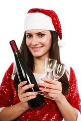 Santa helper with wine and glasses