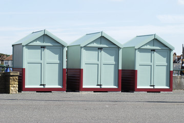 Beach huts at Hove, Brighton, Sussex, England