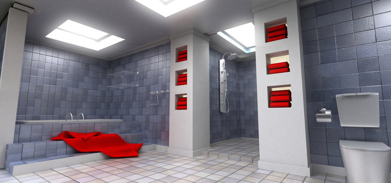 Gray bathroom with red towels