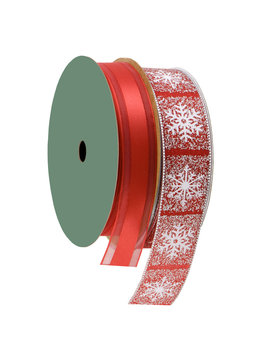 two beautiful red ribbons on a spool