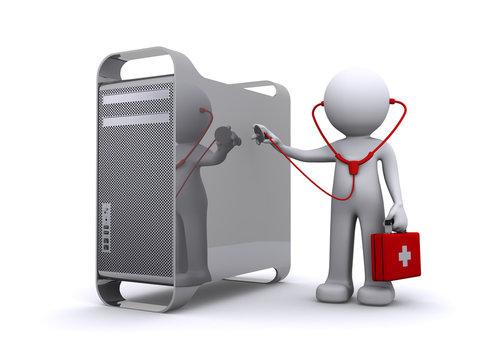 doctor examining a pc/mac