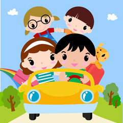 Printed roller blinds Cars Happy family in car on vacation