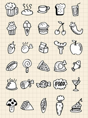 doodle food drink,hand draw