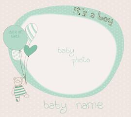Baby Boy Arrival Card with PhotoFrame