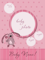 Pink Baby announcement card with Frame