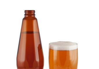 Beer, bottle, glass, isolated on white background.