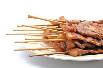 Roast Pork in a Stick on White Background