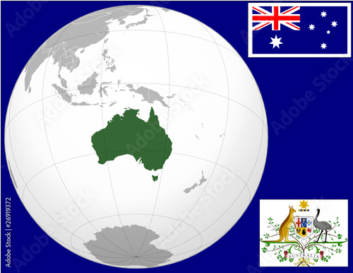 australia globe map locator world flag coat