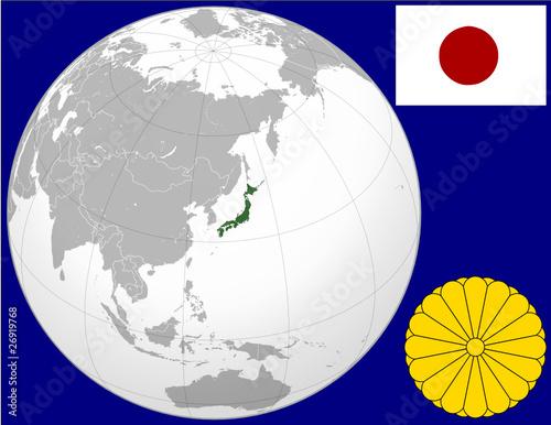 Japan globe map locator world flag coat stock image and royalty japan globe map locator world flag coat gumiabroncs Images