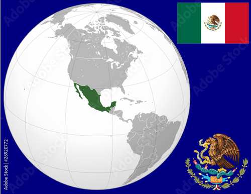 Mexico globe map locator world flag coat stock image and royalty mexico globe map locator world flag coat gumiabroncs Images