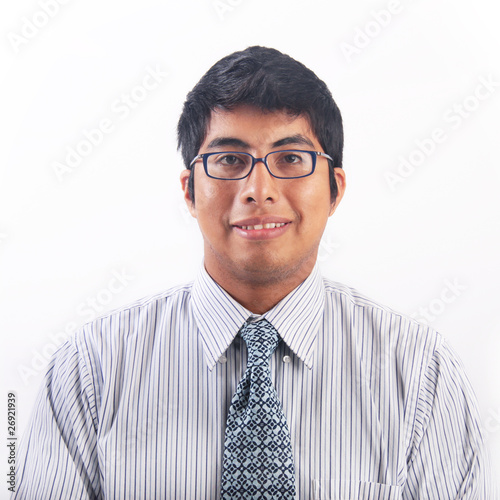 03d35d3bab6 Geeky young hispanic man with glasses portrait