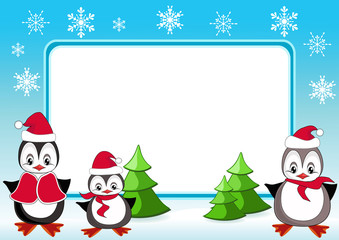 Baby penguins. Christmas frame.