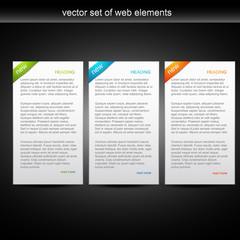vector set of three web banner